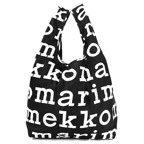 マリメッコのエコバッグブラック×ホワイト